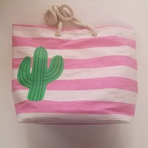 Handbags - NWT Seagrass pink + white rope handle cactus tote